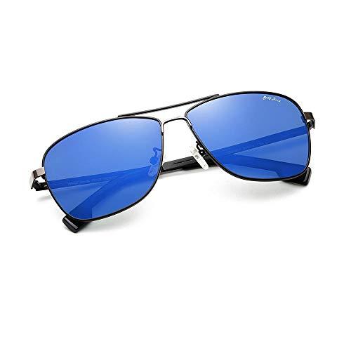 Gosunfly Gafas de sol retro de metal para mujer, gafas de sol polarizadas, marco grande, espejo de conducción-C4, caja negra (plateada), película azul