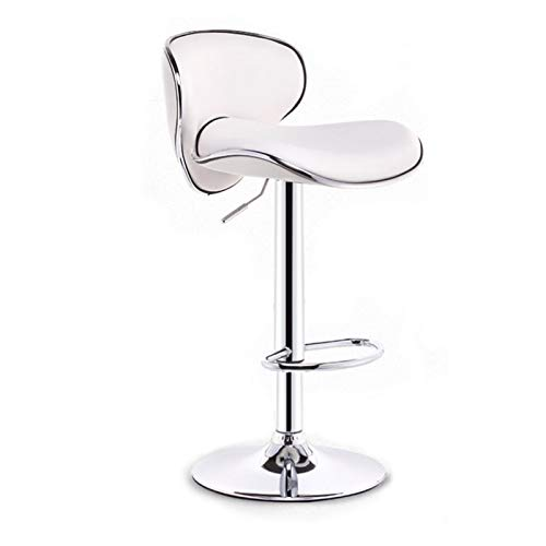 M-YN Taburete de Bar Taburetes de Bar de diseño Moderno con Altura Ajustable y rotación de 360 °, taburetes ergonómicos for Barra de Bar Cocina y hogar (Color : White)
