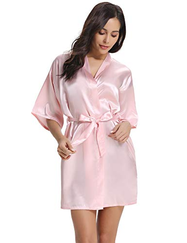 Vlazom Kimono Mujer Bata para Satén Mujer Suave y Sexy, Albornoces para Muje de Dormir/Batas Mujer de Pijamas S-XXL,M,Rosado Claro