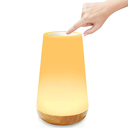 Bostar Lámpara de mesa Luz de noche Toque Sensor portátil Control remoto Lámpara de cabecera con USB recargable Regulable Luz blanca cálida 13 colores RGB para dormitorio Sala de estar Oficina
