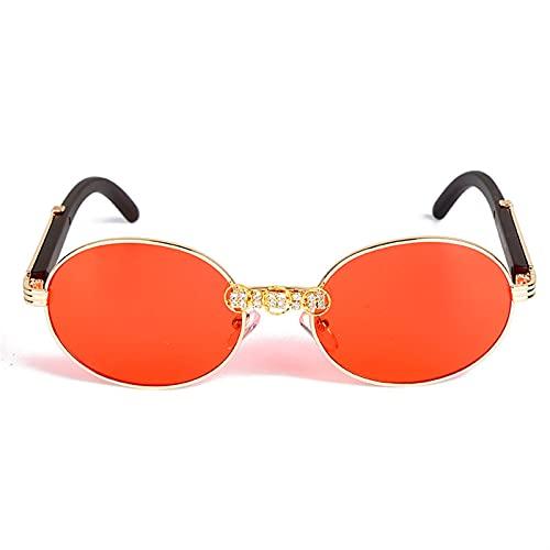 JIANCHEN Gafas de Sol Vintage Marco de Madera Diamante Gafas de Sol Mujeres Hermosa Cristal Hecho A Mano Gafas Redondas UV400 Lente Clara Vidrios Ovalados (Color : 3)