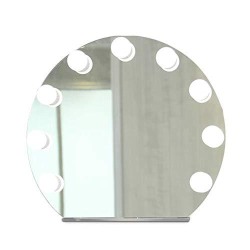 Espejo para Maquillaje con Estilo de Hollywood con Luces LED Brillante Espejo con 9 Piezas Bombillas Inteligente con Reproductor Música Bluetooth 56 * 62 * 17cm Durable