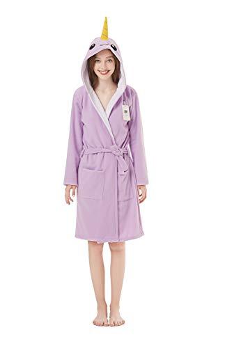 XVOVX Damen Bademantel aus Polarfleece, weich, für Damen und Mädchen -  -  Large