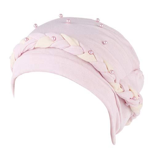 STRIR Mujeres Artificial Perla Turbante Sombrero Pérdida de Cabello Cáncer Cabeza Pañuelos Quimioterapia Cap Sombreros Tapa para Quimio