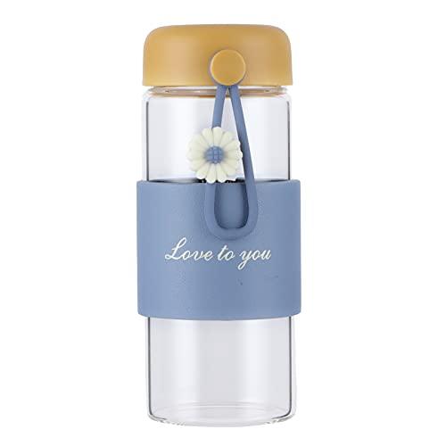 LZKW Botella de Agua, Botellas de Agua de Vidrio sin BPA 350ml para Oficina para el hogar para Regalo(Yellow)