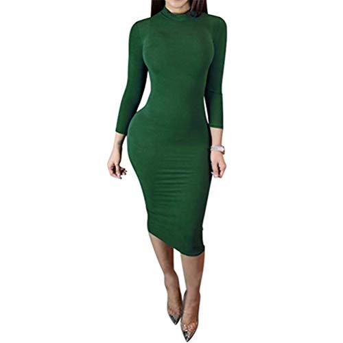 Women Winter Turtleneck Bodycon Dresses - Long Sleeve Solid Midi Sexy Club Dress Green
