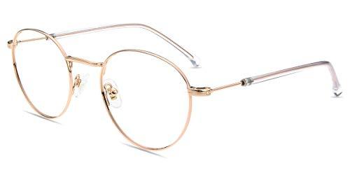 Firmoo Blaulichtfilter Brille ohne Sehstärke für Damen Herren, Anti Blaulicht Computer Brille PC Brille gegen Augen-/Kopfschmerzen (49-22-145(Schmal), Gold)