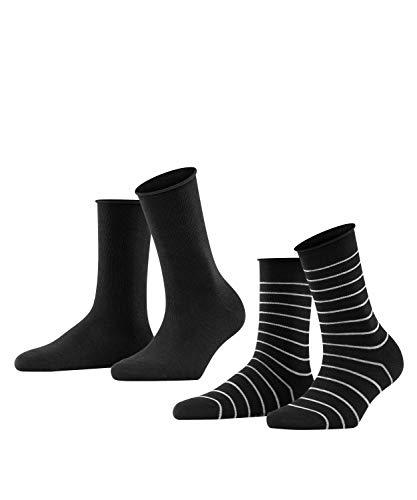 FALKE Happy Stripe 2-Pack Damen Socken black (3000) 39-42 Baumwollstrumpf für jedes Outfit