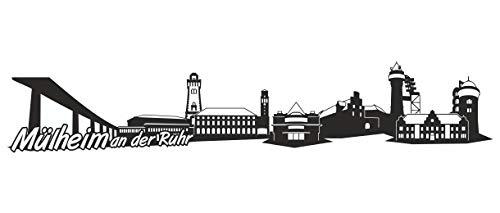 Samunshi® Mülheim an der Ruhr Skyline Wandtattoo Sticker Aufkleber Wandaufkleber City Gedruckt Mülheim an der Ruhr 120x23cm schwarz