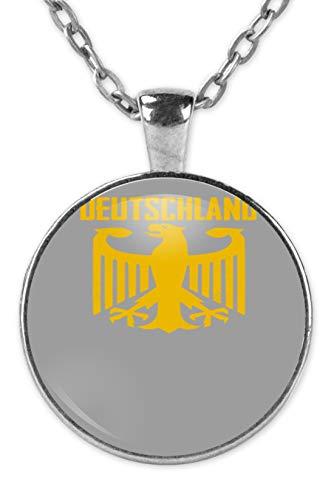 SPIRITSHIRTSHOP Cooles Bundesadler Adler Deustchland - Bundeswehr Stolz Flagge Grundgesetz Bundestag Staat - Kette und Anhänger -Einheitsgröße-Silber