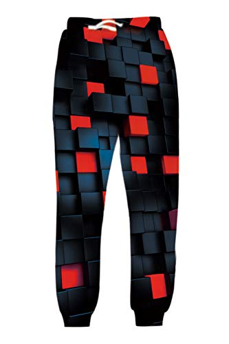 uideazone 90s Gentlemen Mens 3D Cube Pattern All Over Print Fashion Sports Clothing for Outdoor Activities Casual Jogger Pants Comfortable Sweatpant