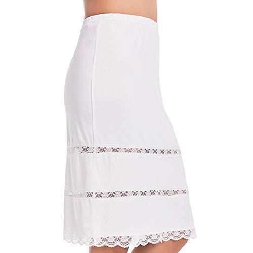 Half Slips for Women Underskirt Dress Extender Lace Trim Knee Length Midi Skirt 14-25' Length White Small