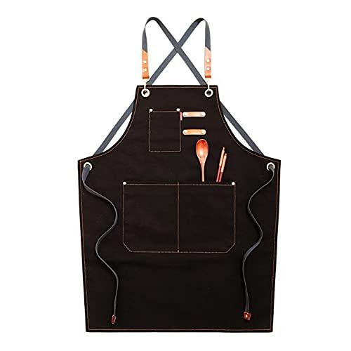 Rcevbocc Delantal de chef de tela vaquera con espalda cruzada, ajustable, con 3 bolsillos para mujeres y hombres, cocina, para hornear, babero, delantal de trabajo