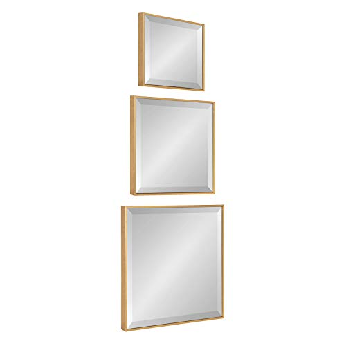 Kate and Laurel Rhodes Modern Square Mirror Set, Set of 3, Gold, Glamorous Wall Decor