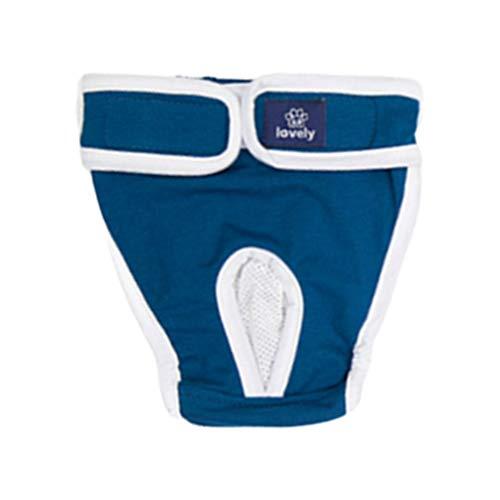 Balacoo Hündin Windel Verstellbar Auslaufsicher Hund Menstruation Hygienehöschen Baumwolle Unterwäsche für Welpen Katze Haustier (Blau S)