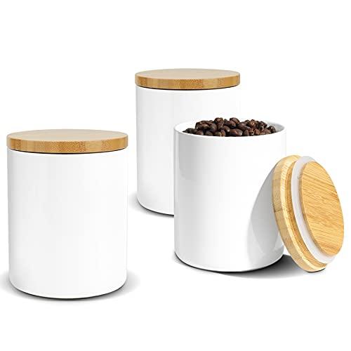 ComSaf 500ml Vorratsdosen Keramik 3er Set, Vorratsdose mit Luftdichtem Verschluss Bambusdeckel, Vorratsbehälter Porzellan mit Luftdichtem, Vorratsgläser Keramik fur Tee, Kaffee, Gewürz und mehr