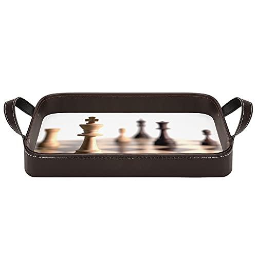 bandeja de cuero,bandeja de tocador decorativa,Ajedrez de cabeza de caballo Tablero de ajedrez a cuadros de cuadros,Bandeja de utilidad Oficina en casa Viaje Café Ba