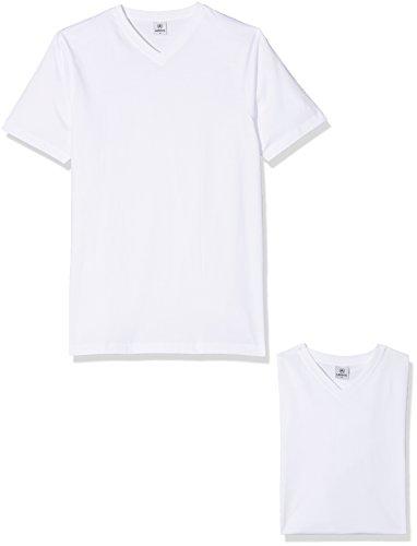 LERROS Herren LERROS Herren T-Shirt mit V-Ausschnitt Doppelpack T-Shirt,,per pack Weiß (White 100),Large