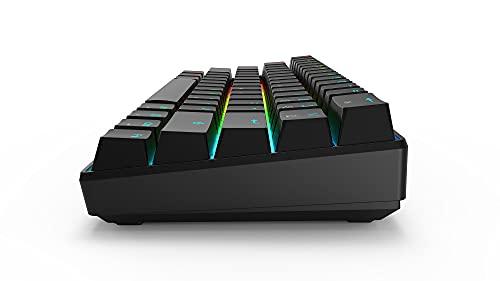 60% teclado mecánico para juegos con cable 60% teclado con LED RGB Rainbow retroiluminado interruptor rojo para Windows PC Gaming, 61 teclas (interruptor marrón)