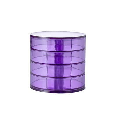 Caja organizadora de joyas, caja de pendientes, 4 capas, 360 ° giratoria para almacenamiento de joyas, pendientes, collares, anillos, pulseras, cuerda para el pelo, lápiz labial (morado transpirable)