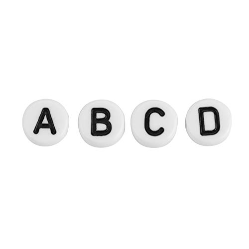 Labuduo Alphabet Letter Beads Letter Beads Round Round Letter Beads, Beads With Letters, for Bracelets DIY