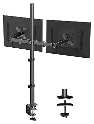 TabloKanvas Soporte de Doble Monitor con Extra Alto 39.37 Pulgadas Monitor Completamente Ajustable Montaje C Abrazadera y Base de Montaje de Ojal (Color : Black)