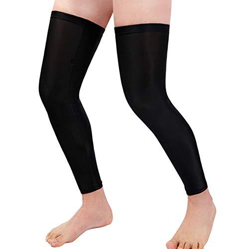 Leg Sleeve Compression for Men and Women, MLSice Full Leg Long Sleeves UV Protection Sports Cycling Strech Leg Warmer Summer Knee UV Protect Non Slip (1 Pair)