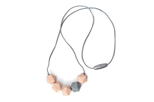 Collier de dentition à la mode pour maman, allaitement pour bébé, perles d'allaitement sans BPA, fabriqué à la main par Milkmaid, 4 couleurs (Rose Pêche Clair/Gris)