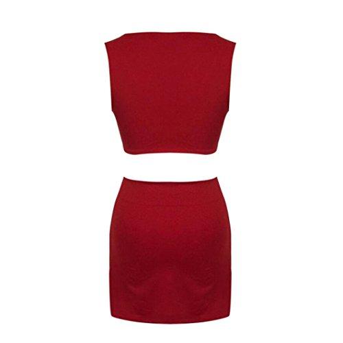 VJGOAL Mujeres Sexy Rojo con Cuello en O sin Mangas Casual algodón Corto Tank Tops + Falda de Dos Piezas Outfit Casual Conjuntos (S, Rojo)