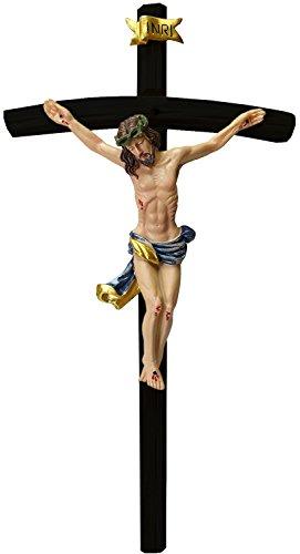 Kaltner Präsente Geschenkidee - 25 cm Wandkreuz Kruzifix mit Jesus Christus Figur auf Kreuz aus Holz schwarz von Hand bemalt