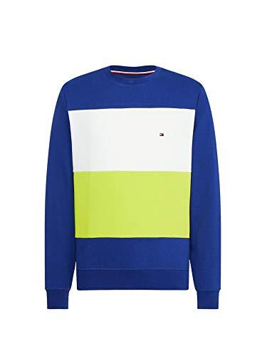 Tommy Hilfiger Colorblock Sweatshirt Sweat-Shirt, Bleu (Blue Ink/Lemon Lime/Multi), X-Small (Taille Fabricant:) Homme