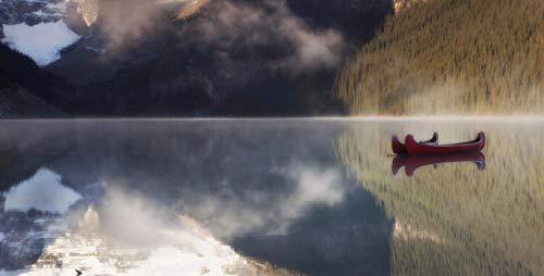 NoNo DIY Digitale Ölgemälde Tierlandschaft Architektur Ölgemälde Familie Interaktive Anhänger Farbmalereizwei Kleine Rote Boote Auf Dem Kanadischen See