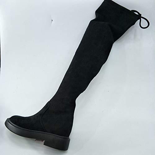 Shukun enkellaarsjes Women'S laarzen Winter plat met casual slanke zijrits over de knie Women'S laarzen lange laarzen