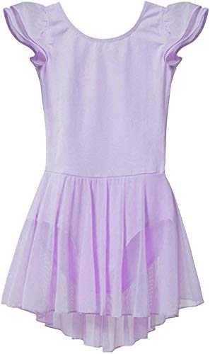 MdnMd Girls' Flutter Sleeve Purple Dance Ballet Leotard Dress with Tutu Skirt (Toddler/Age 2-4)