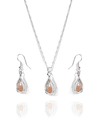 VintFlea Birthstone Elegant Silver Pendant Drop Earring Gemstone Set for Women