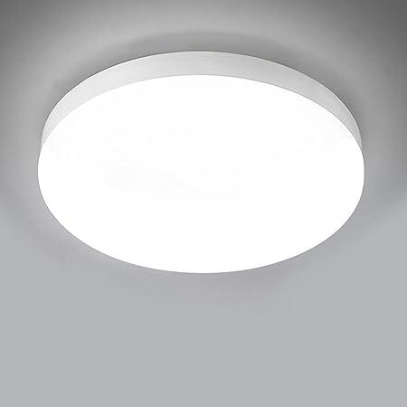 Plafonnier LED 30W 3000LM Lampes de Plafond,Rond Ultra-mince LED Lampe Imperméable IP56 Luminaire Intérieur Parfait pour Chambre Cuisine Balcon Couloir Ø25cm[Classe énergétique A]