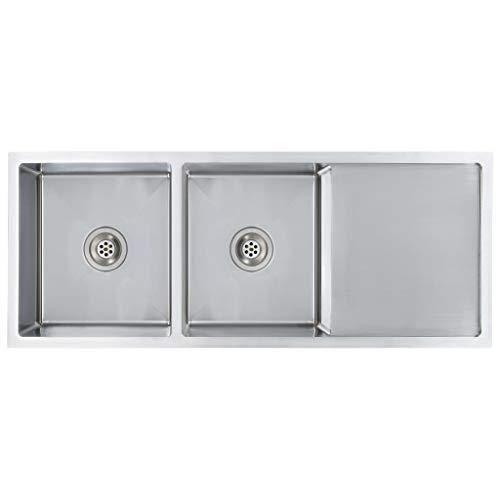 vidaXL Einbauspüle mit Sieb Handgemacht Lebensmittelqualität Küchenspüle Spüle Spülbecken Edelstahlspüle Doppelbecken Edelstahl 111,5x44x20cm