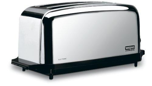 Waring Commercial WCT704 4 Slice Extra Long Slot Light Duty Pop-Up Toaster, 120V, 5-15 Phase Plug