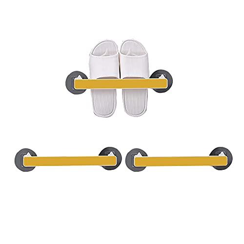 Angou 3 pares de zapateros para baño, zapatero, zapatero, zapatero de pared autoadhesivo, para almacenamiento de baño, 28 x 5,5 x 3 cm, color amarillo