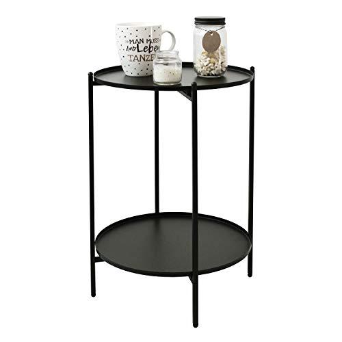 Wohaga Mesa auxiliar 'Lincoln' redonda, 35 cm, altura 50 cm, metal, color negro
