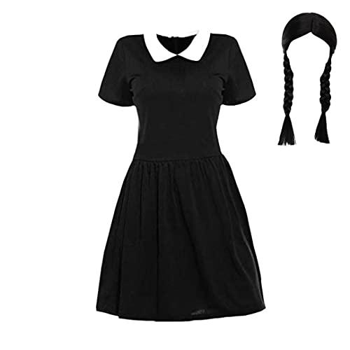 Miércoles Addams Disfraz de Cosplay Gomez Addams Disfraz de la Familia Vestido de Fiesta de Manga Corta de Terciopelo Negro para Mujer Vestido de fantasía de Halloween para Mujer