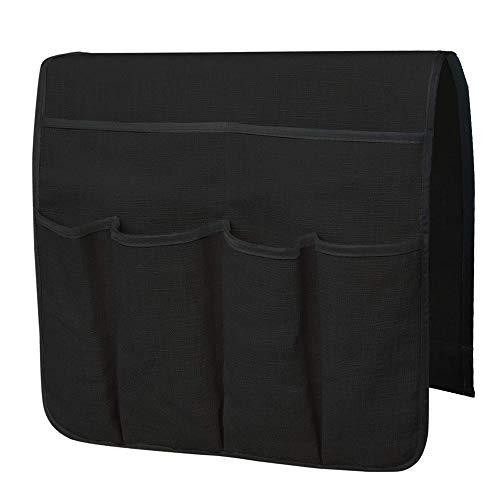 Anti-Slip Luxury Sofa Armrest Caddy Pocket Organizer for Couch Armchair Loveseat, Cotton Linen Cloth Armrest Storage Organizer for Phone, Book, Magazines, Armchair Remote Control Holder (Black)