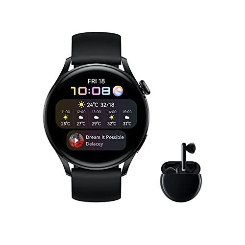 HUAWEI Watch 3 Active + Freebuds 3 Negro - Smartwatch 4G con pantalla táctil 1.43'' AMOLED, eSIM para llamadas telefónicas sin móvil, 3 días de batería, 24/7, GPS Incorporado, Negro