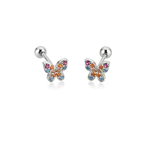 Pendiente de mariposa colorida Sunmmer de plata 925, pendiente de palo, Clips de circonita de moda para mujer, joyería, tachuelas de cuentas de plata