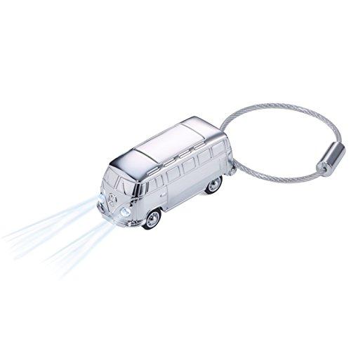 TROIKA LIGHT BULLI T1 1962 - KR17-40/CH - Schlüsselanhänger mit LED-Licht(weiß) - Bulli (Motiv: Volkswagen T1, 1962) - glänzend - silber - Official licensed by VOLKSWAGEN - das ORIGINAL von TROIKA