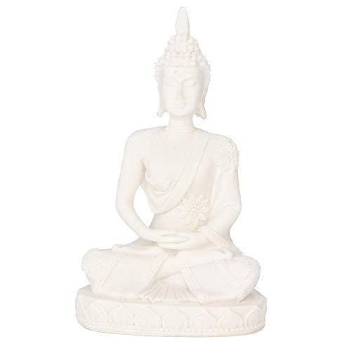 Atyhao Buddha-Statue, meditierende sitzende Buddha-Statue, die Figur-Handwerk für Hauptdekorations-Tischverzierung schnitzt(Weiß)