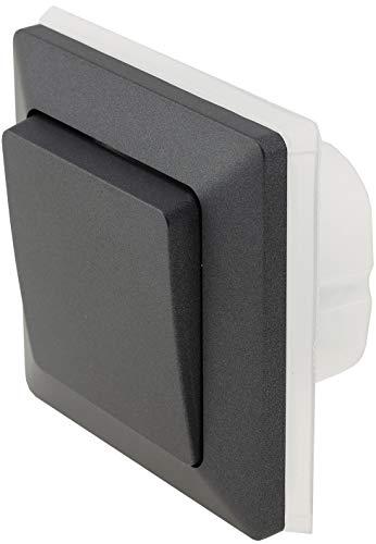 MILOS IP44 - Interruptor de conmutación para exterior empotrado (250 V, para ambientes húmedos y exteriores, color gris antracita