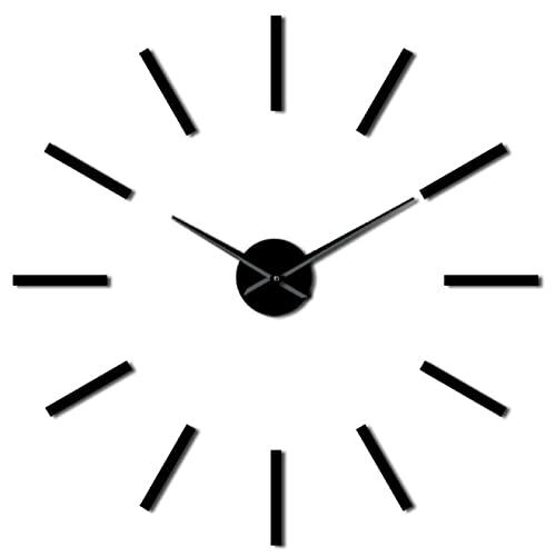 hufeng Reloj de Pared 3D Acrílico Efecto Espejo Reloj de Pared Diseño Simple Arte de la Pared Cuarzo Decorativo Barrido silencioso Manos Modernas Reloj de Pared Negro