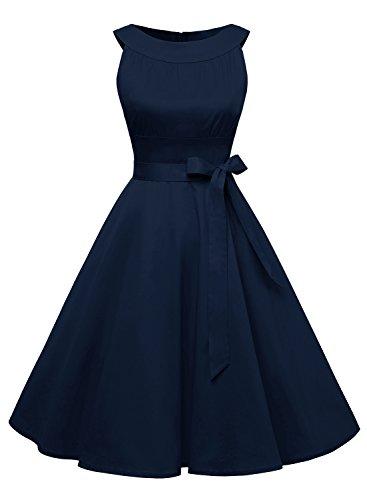 Timormode Damen Retro Kleid Kurz Vintage Swing Cocktailkleid Rockabilly Einfarbig 10408 M Marineblau