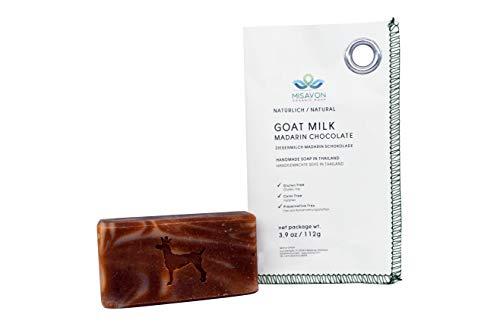 MISAVON Handseife GOAT MILK- Naturkosmetik mit Ziegenmilch, 100% Naturseife, Mandarin Schokolade Duft, Vegan, Handgemacht, 112g